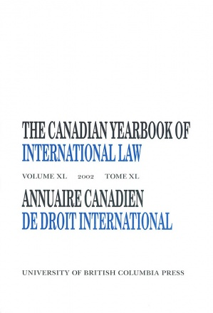 The Canadian Yearbook of International Law, Vol. 40, 2002