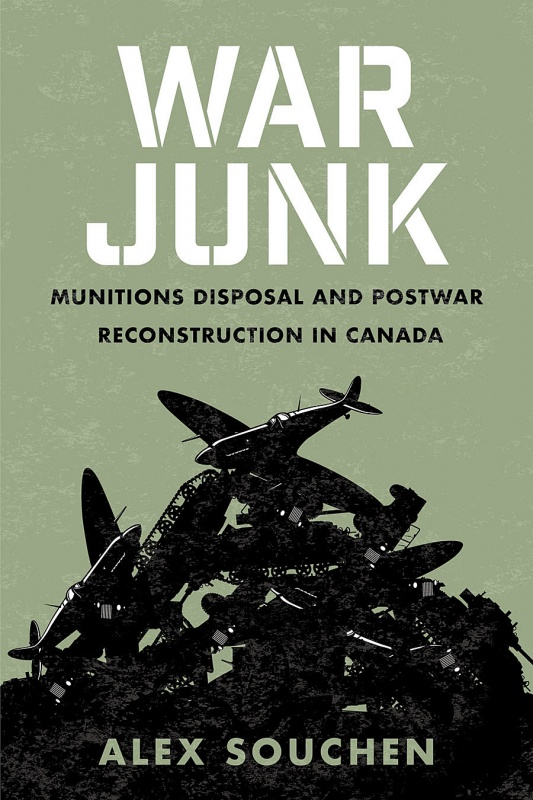 Book cove for War Junk, featuring a pale green background with black drawings of war munitions