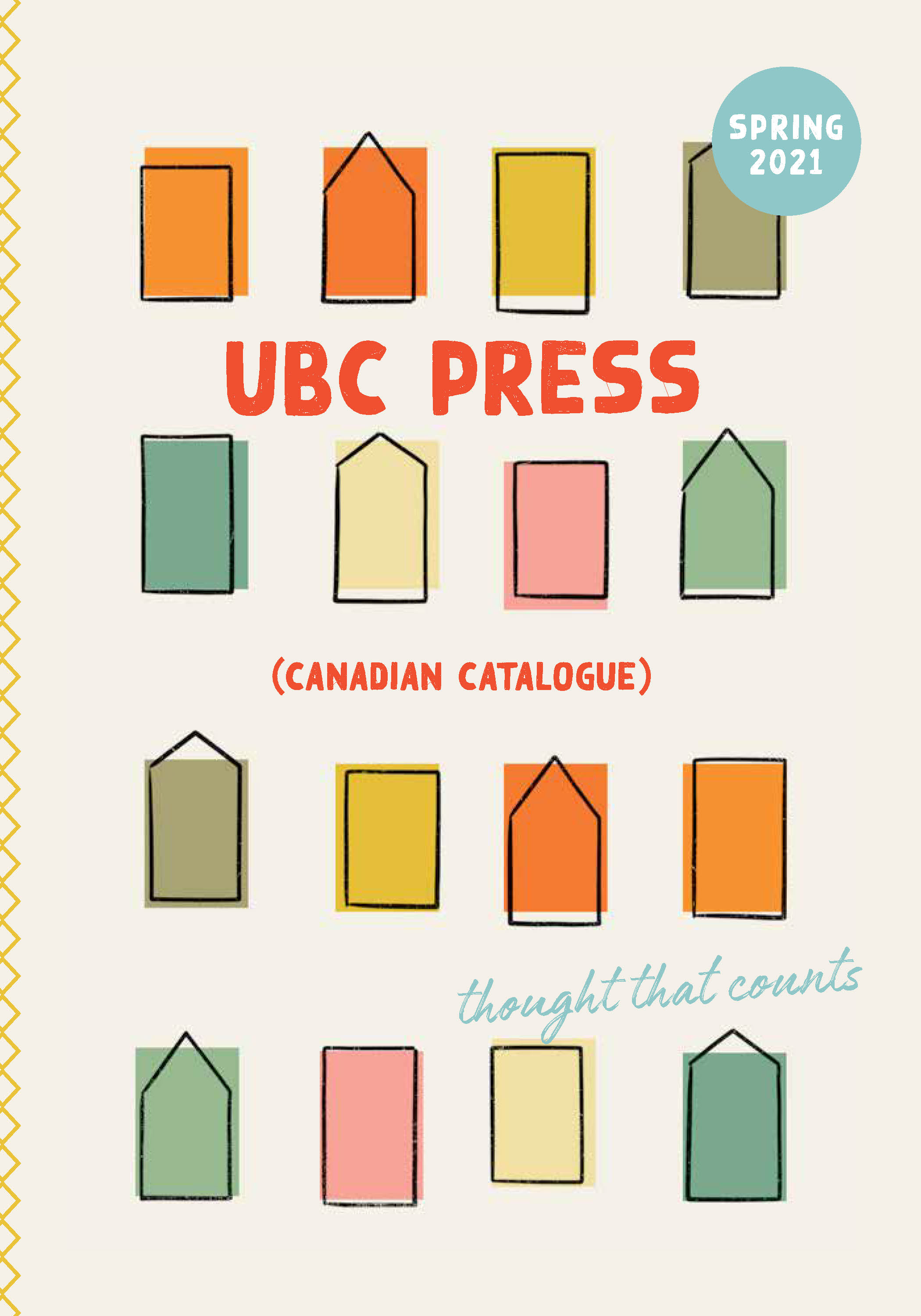 Spring 2021 catalogue cover featuring a beige background and drawings of houses in a variety of colours