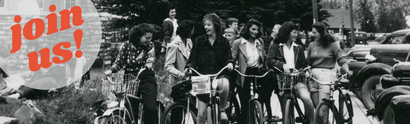 "vintage photo of women on bicycles with text in top left corner in orange print saying ""join us"""
